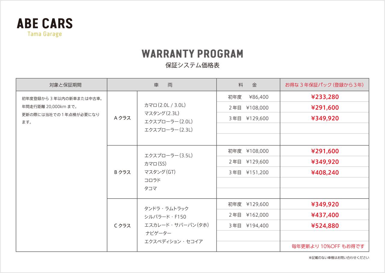 保証システム価格表